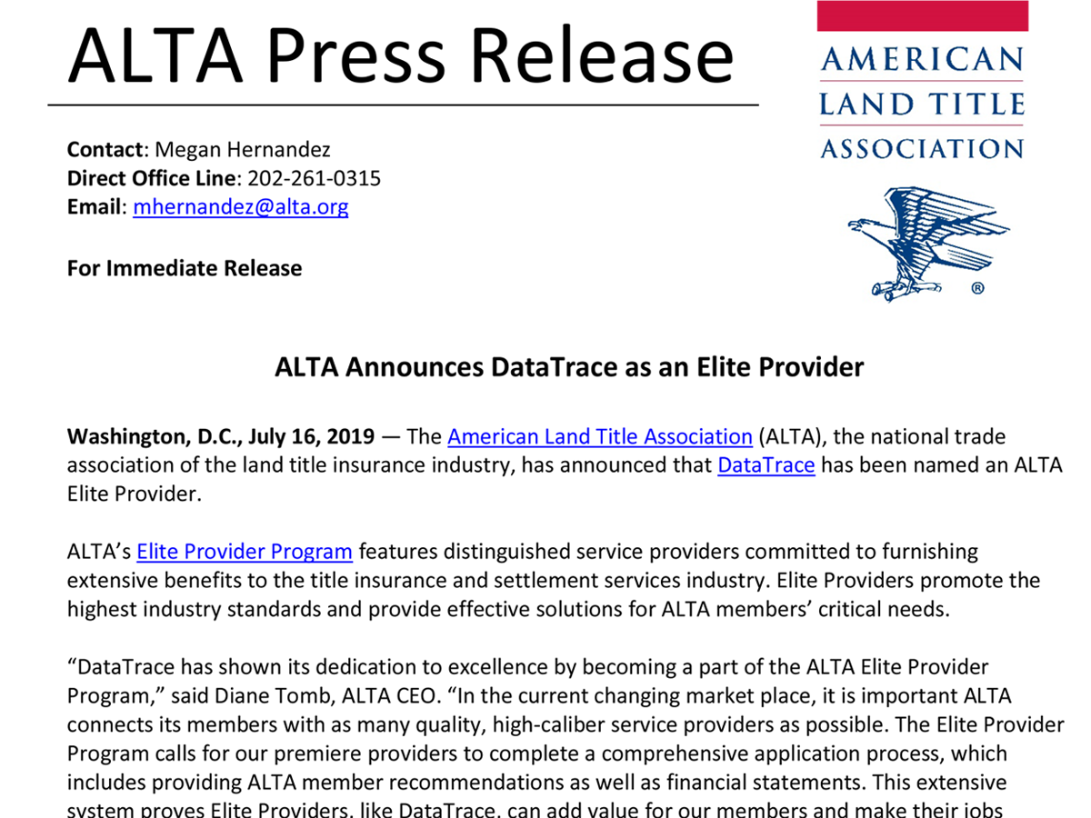 ALTA Announces DataTrace as an Elite Provider