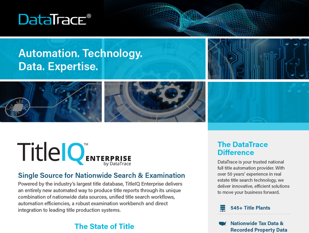 DataTrace TitleIQ Enterprise Product Sheet