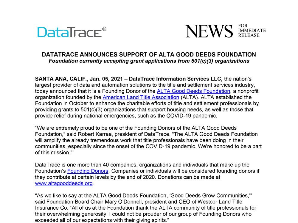 DATATRACE SUPPORTS ALTA GOOD DEEDS FOUNDATION