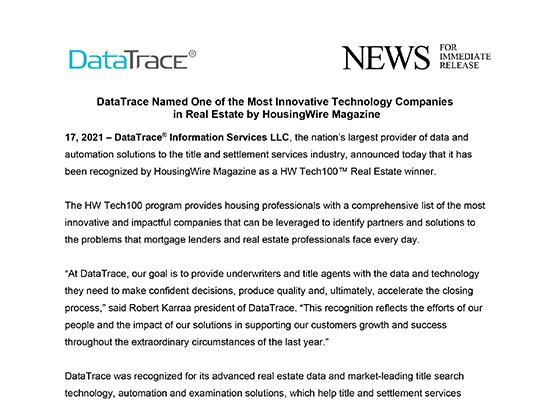 DataTrace Named HWTech100 Real Estate Winner