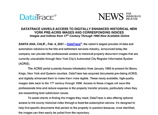 DataTrace New York Unveils Pre-ACRIS Images and Indices