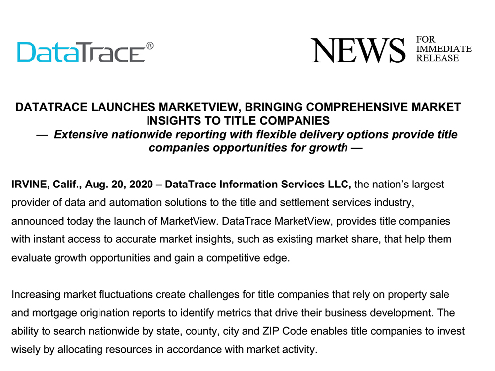 DataTrace Launches MarketView