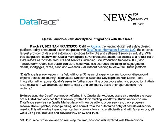 SoftPro Announces Integration with DataTrace