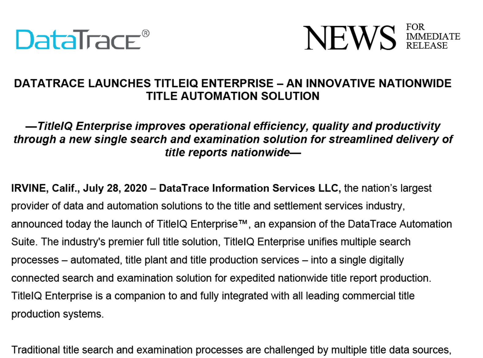 DataTrace Launches TitleIQ Enterprise