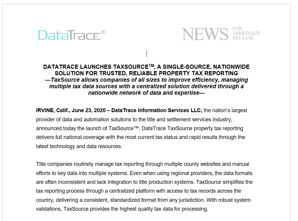DataTrace Launches TaxSource