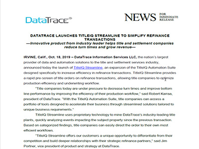 DataTrace Launches TitleIQ Streamline