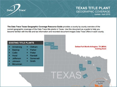 Data Trace Texas Title Plant Coverage