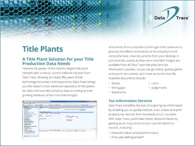 Data Trace Title Plant Solutions Product Sheet