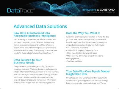 DataTrace Advanced Data Solutions Product Sheet