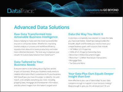 DataTrace Advanced Data Solutions Product Sheet