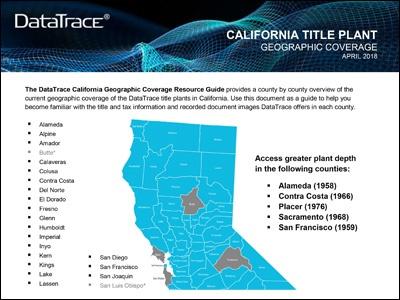DataTrace California Title Plant Coverage