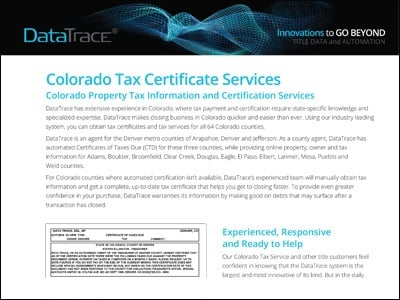 Colorado Tax Certificate Services