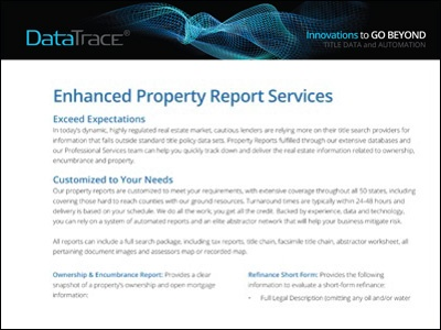 Data Trace Enhanced Property Reports