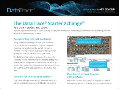 DataTrace Starter Xchange Program Product Sheet