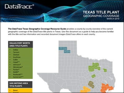 DataTrace Texas Title Plant Coverage