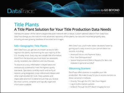 DataTrace Title Plant Solutions Product Sheet