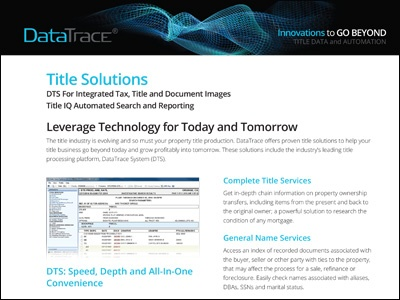DataTrace Title Solutions Overview