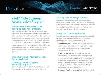 DataTrace xSell Title Business Acceleration Program